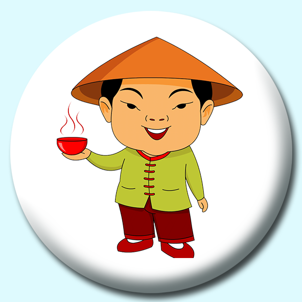 75mm Man In Chinese Costume Button Badge.