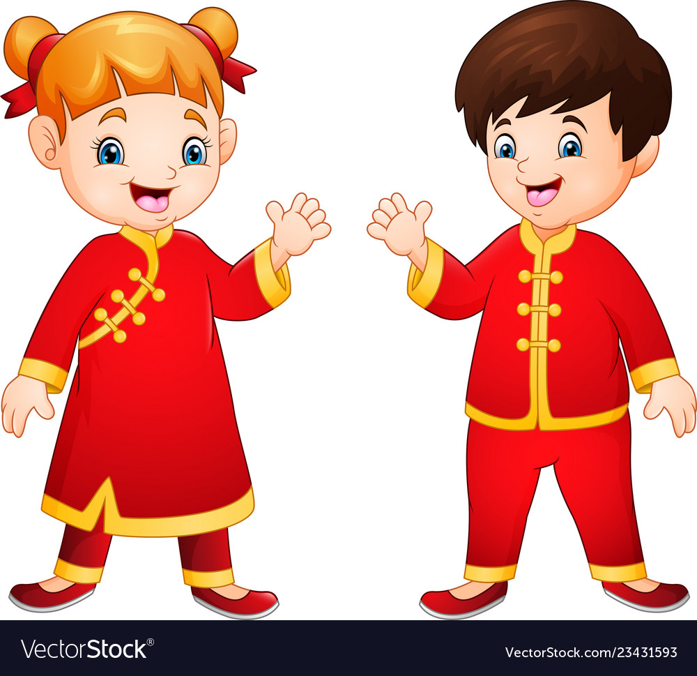 Cartoon kids with chinese traditional costume.
