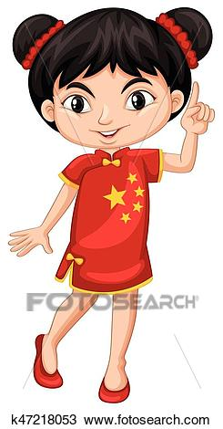 Chinese girl in traditional costume Clipart.