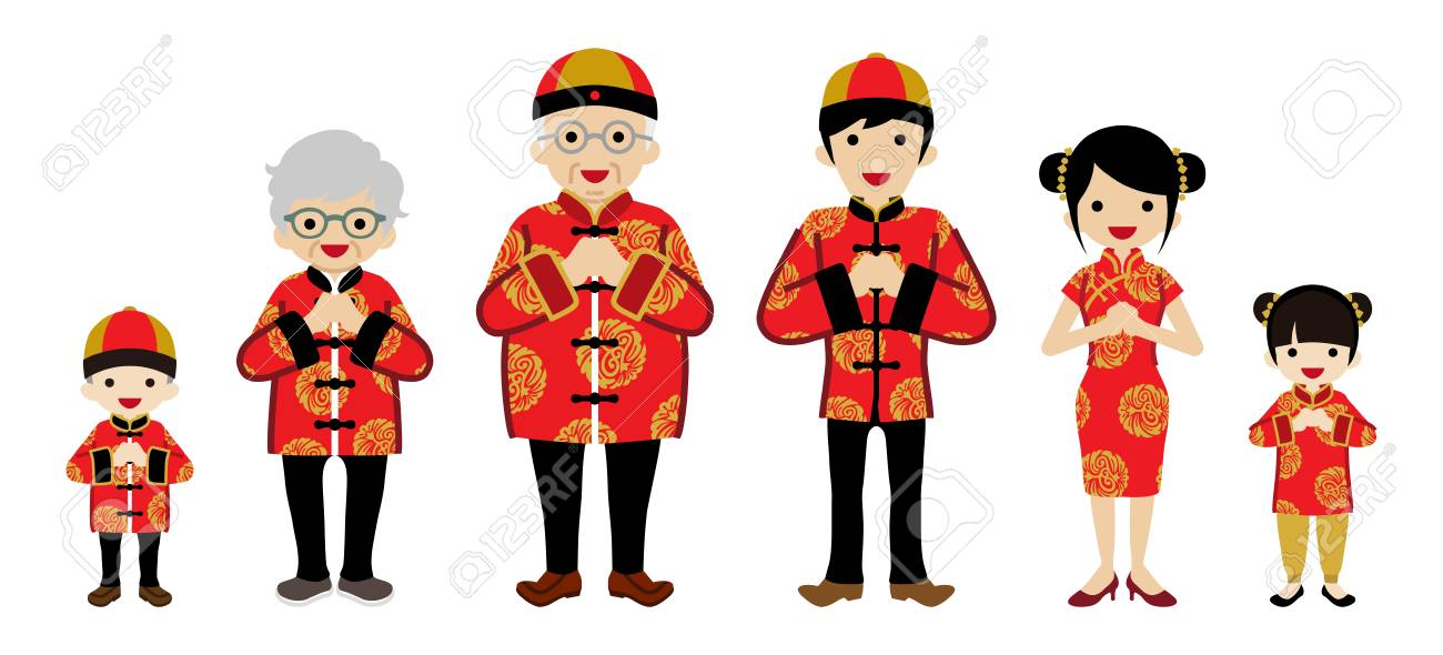 Chinese new year family clip art.