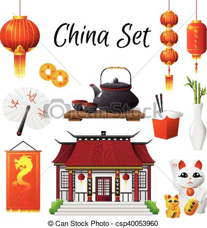 China Culture Traditions Symbols Collection.