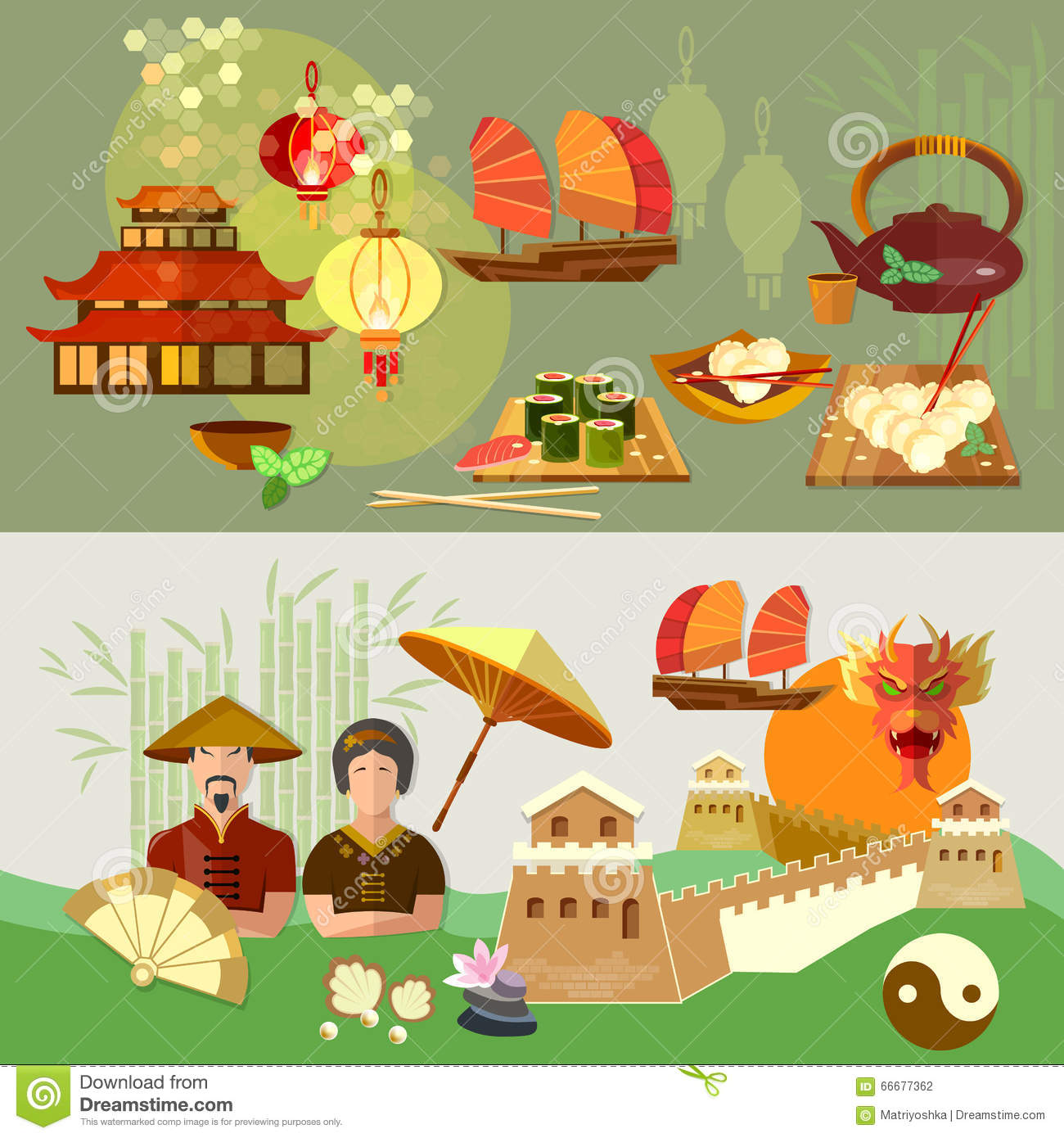 China Chinese Culture And Traditions Banners Stock Vector.