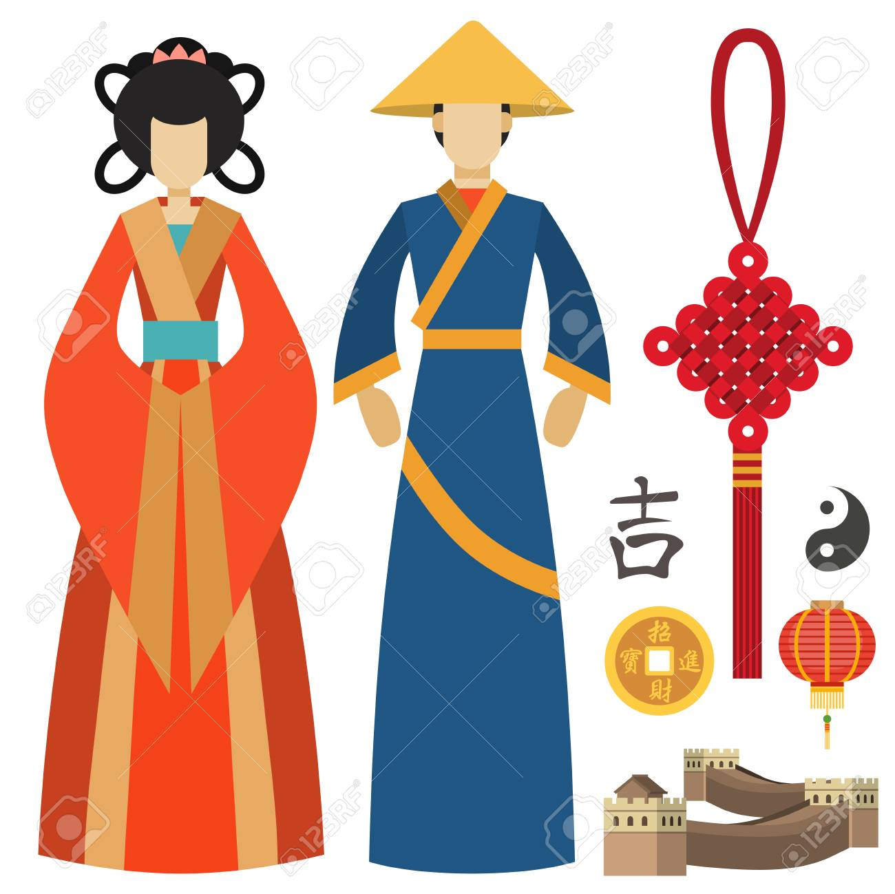 China man and woman east culture chinese traditional symbols...