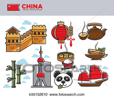 China travel landmarks and Chinese culture famous symbols vector icons set  Clipart.