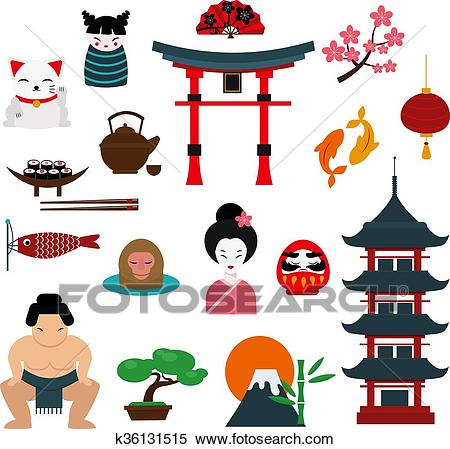 Chinese traditional culture lanterns and objects vector illustration.  Clipart.