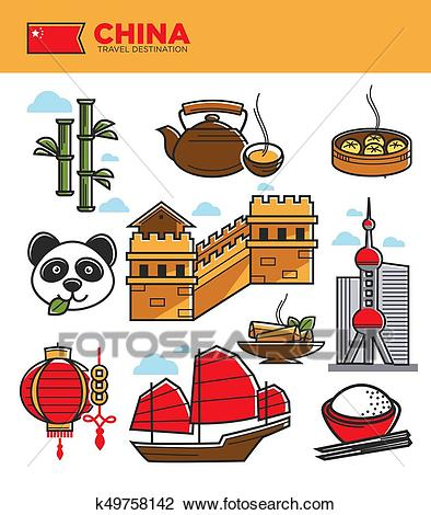 China tourism travel landmarks and Chinese culture famous symbols vector  icons set Clipart.