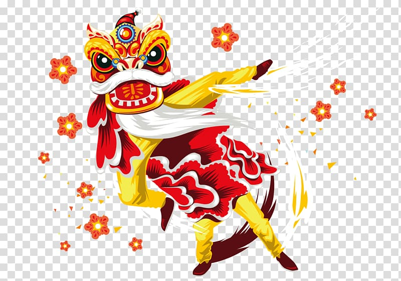 Dancing dragon illustration, Lion dance Chinese New Year.
