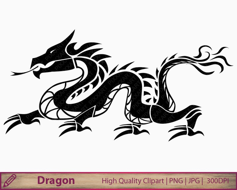 Dragon clipart, chinese dragon tattoo clip art, china graphics,  scrapbooking, commercial use, digital instant download, png jpg 300dpi.
