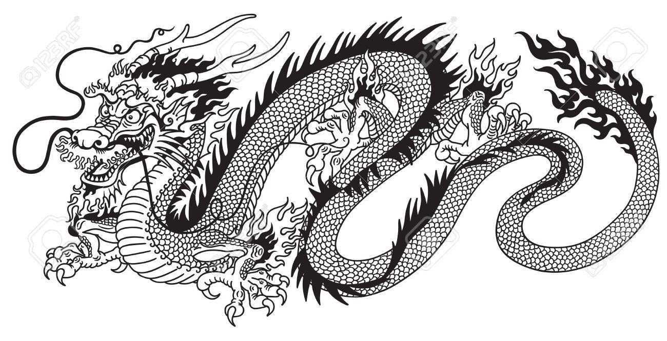 chinese dragon black and white tattoo.