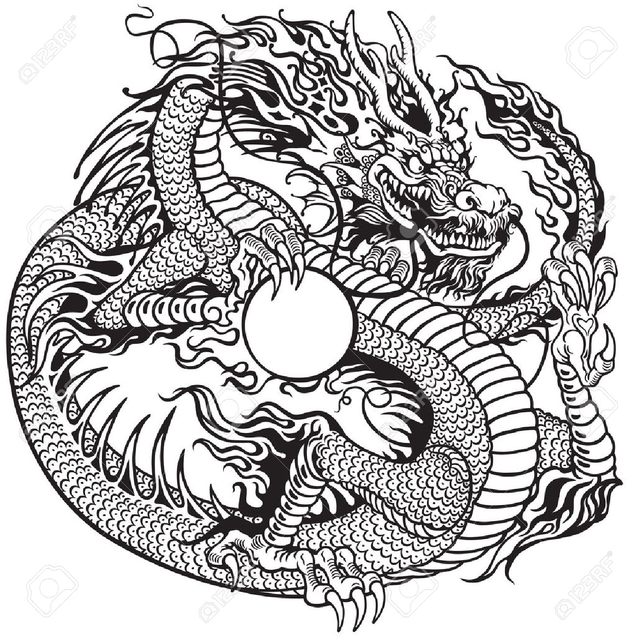 chinese dragon holding pearl, black and white tattoo illustration.