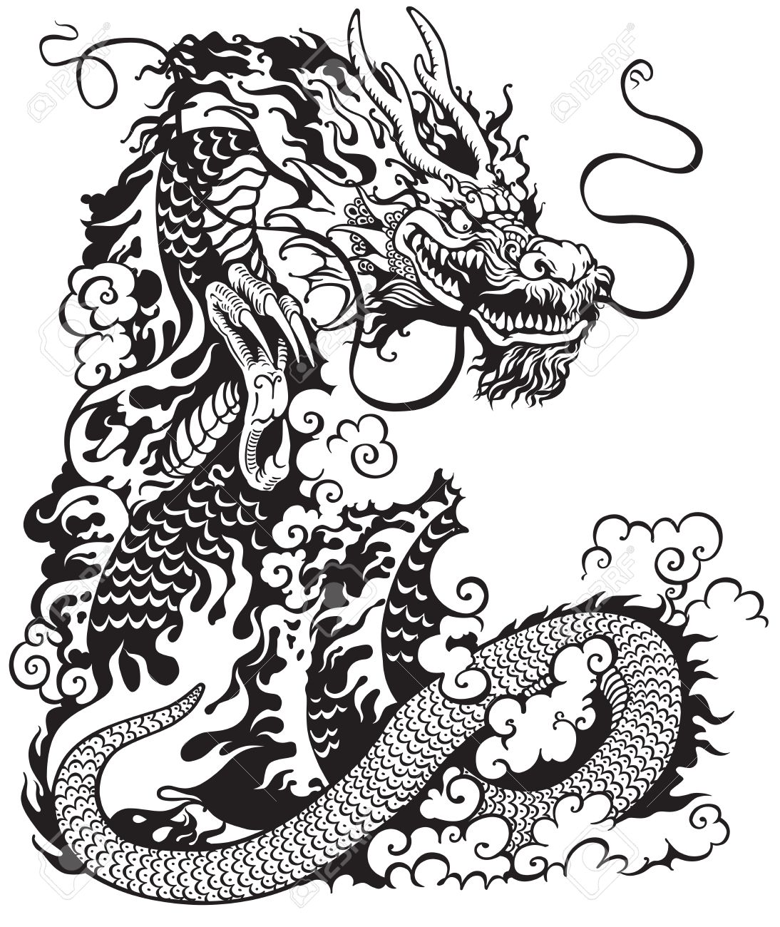 chinese dragon, black and white tattoo illustration.