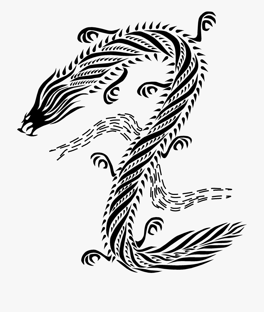 Chinese Dragon Clipart Drawn.
