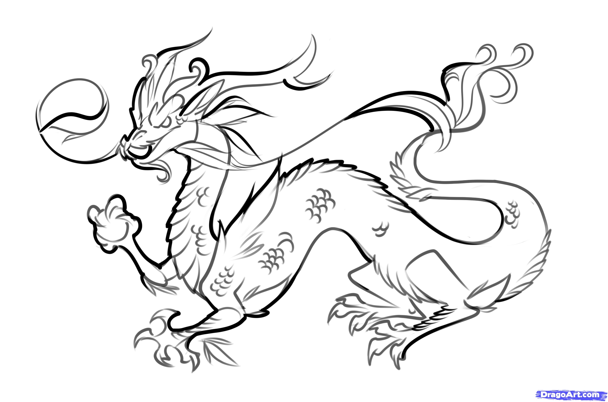 Dragon clipart black and white Lovely Chinese Dragon clipart easy.