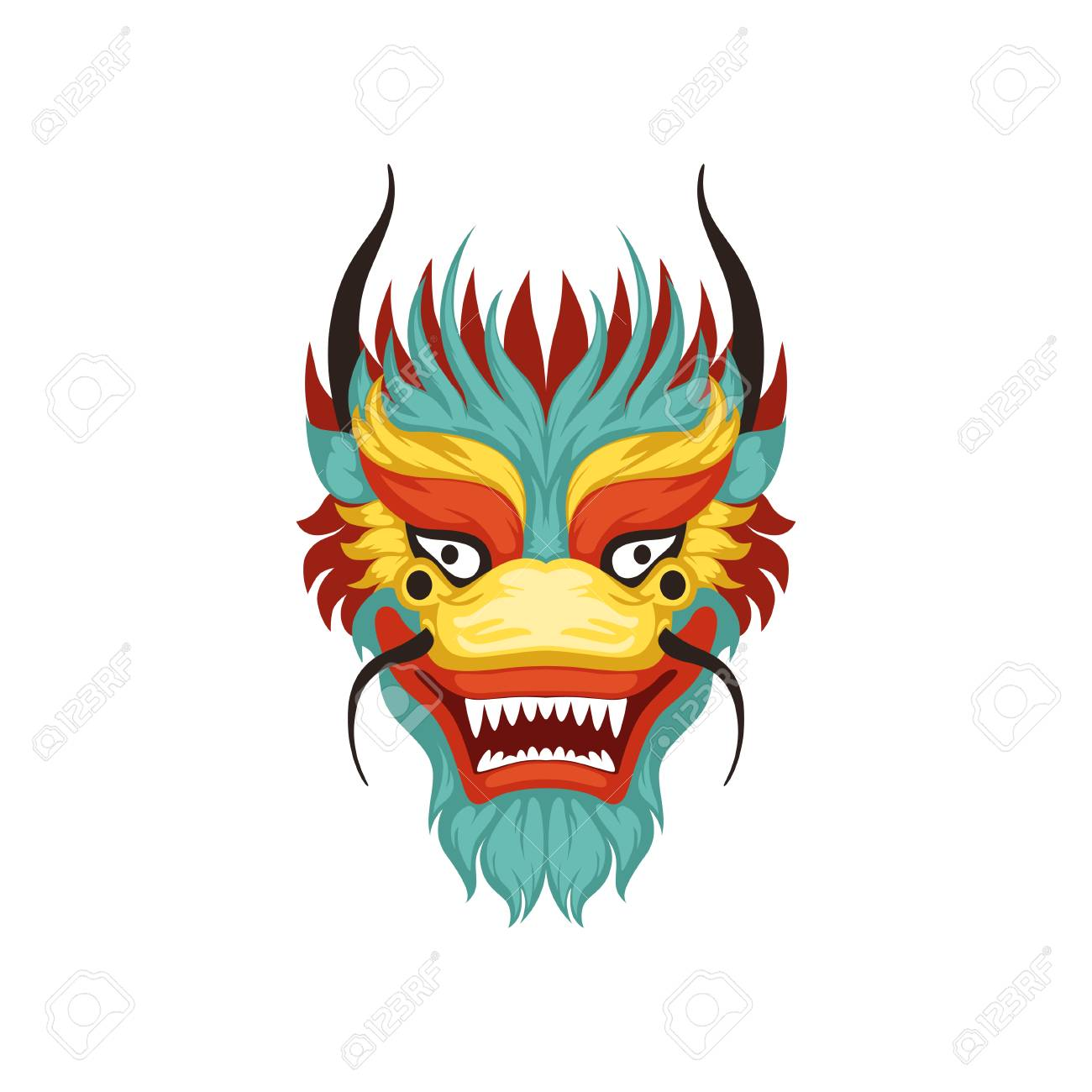 Dragon face, colorful symbol of Chinese traditional Boat Festival...