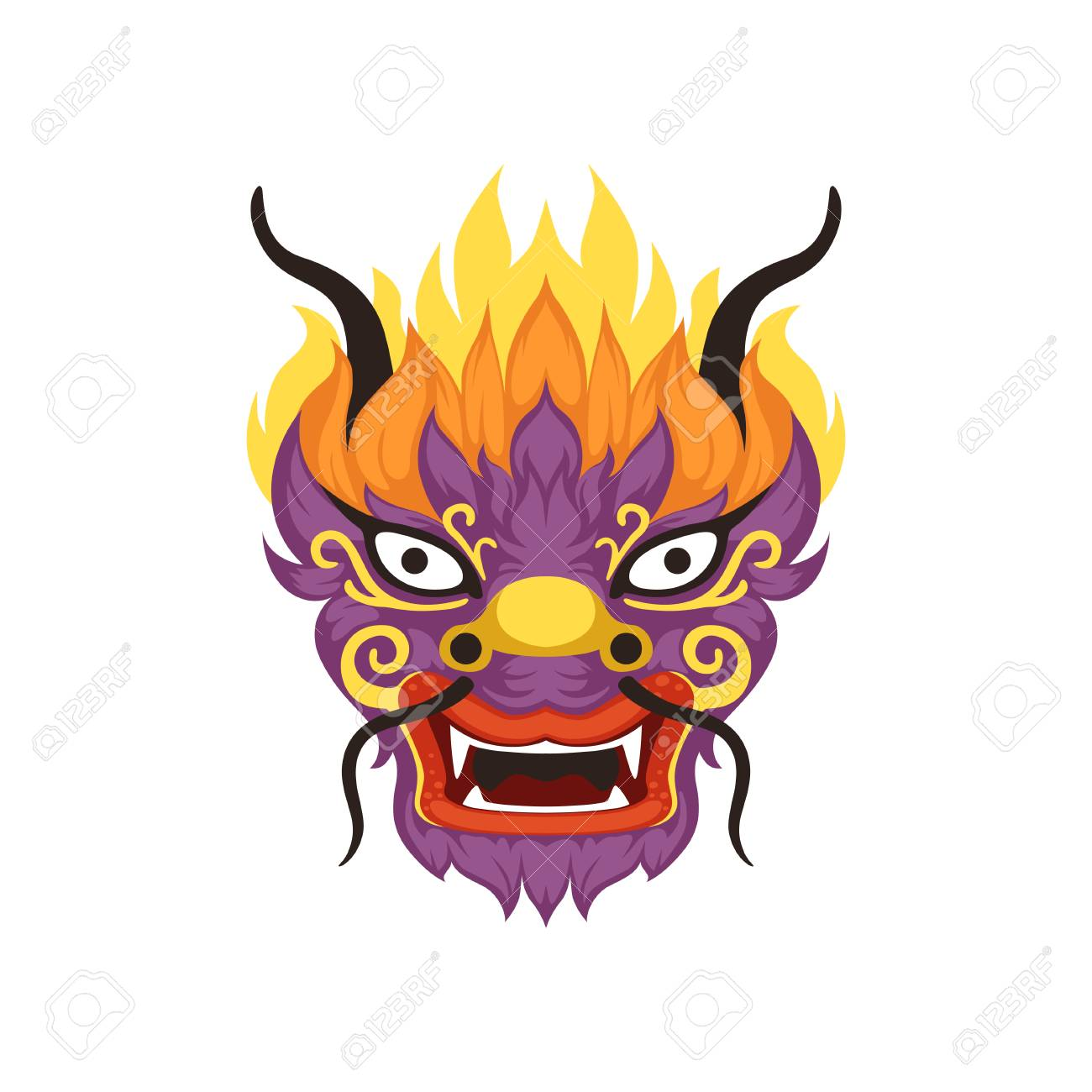 Dragon head, element of Chinese traditional Boat Festival vector...