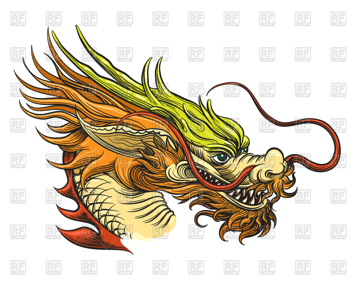Chinese Dragon Head Stock Vector Image.