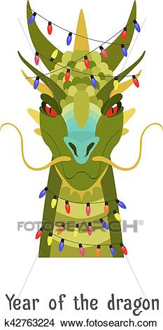 Vector Green chinese dragon head in new year lights Clipart.