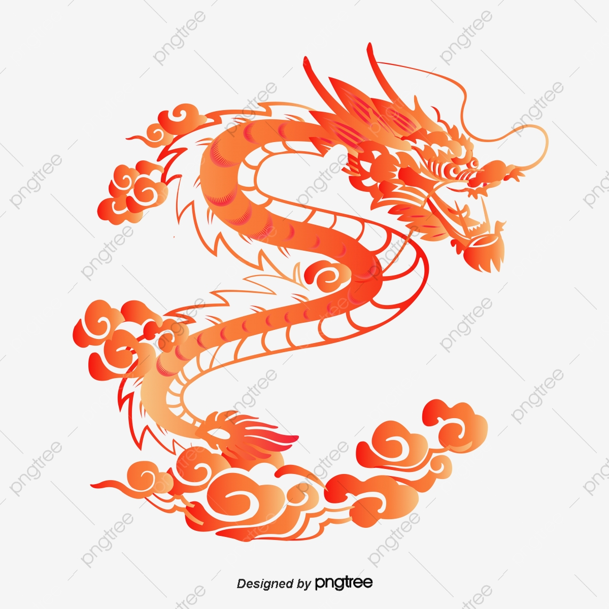 Vector Chinese Dragon, Red, Coloring, Dragon PNG Transparent Clipart.