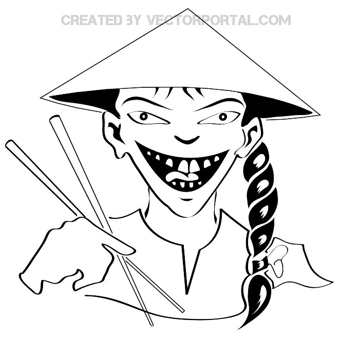 Free clipart of chinese man black and white.