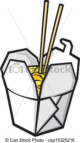 Vector Clip Art of chinese fast food (chinese takeout box, opened.