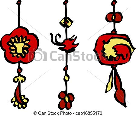 Vectors Illustration of Chinese New Year Decorations Vector.