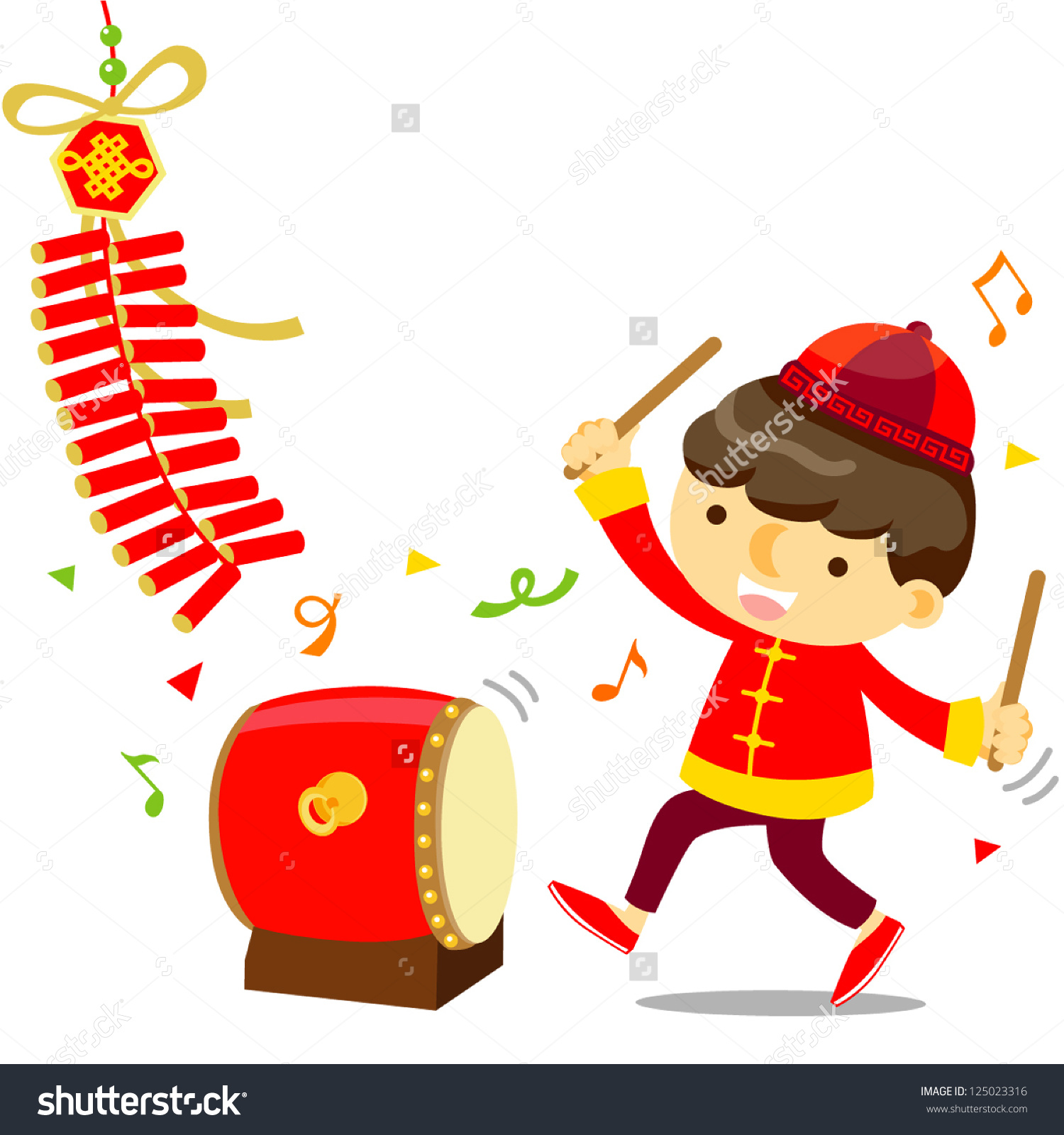 Chinese New Year Celebration Boy Play Stock Vector 125023316.
