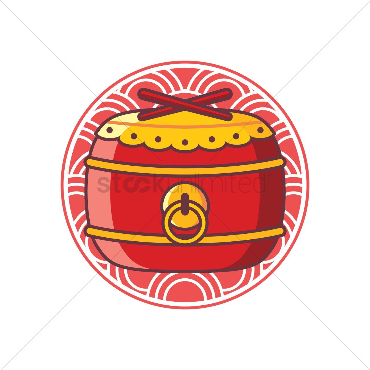 Free Chinese drum Vector Image.