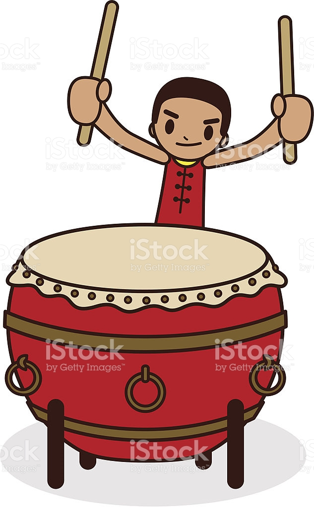 Chinese Drummer With A Large Drum stock vector art 165695349.