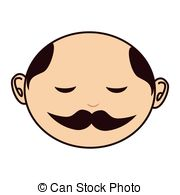 Clipart Vector of Vector chinese man face with slanted eyes, curly.