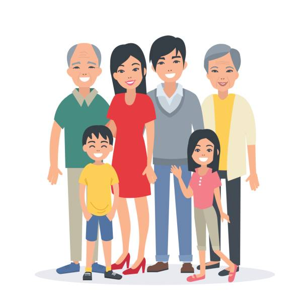 Best Chinese Family Illustrations, Royalty.