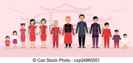 Chinese Family People Design Flat.