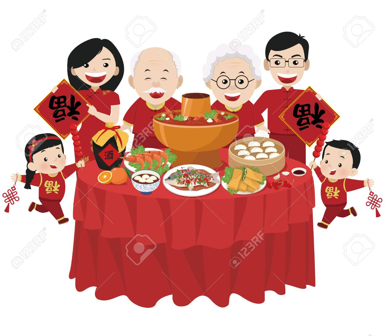 Family portrait, chinese new year illustration.