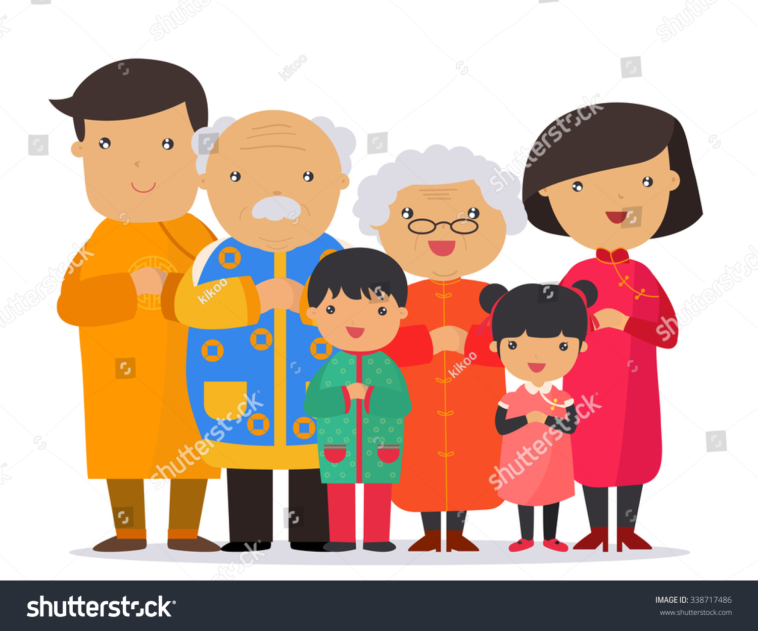 Chinese Family Clipart.