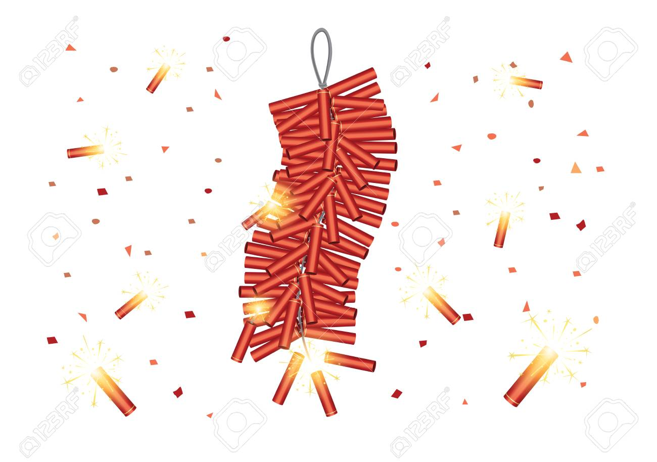Red Chinese Firecrackers start explosive on white background.