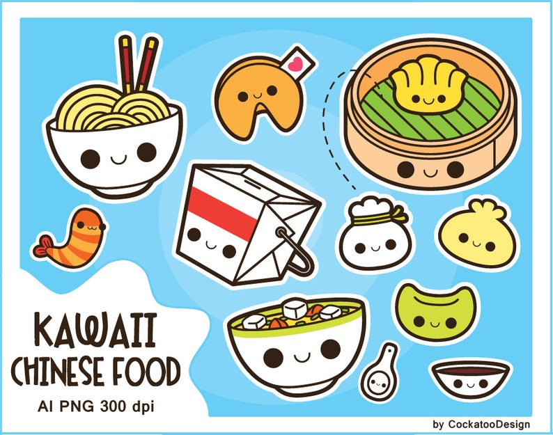 Kawaii chinese food clipart, kawaii food clipart, fortune cookie clipart,  soup clipart, dim sum clipart, noodles clip art, ramen clipart,.