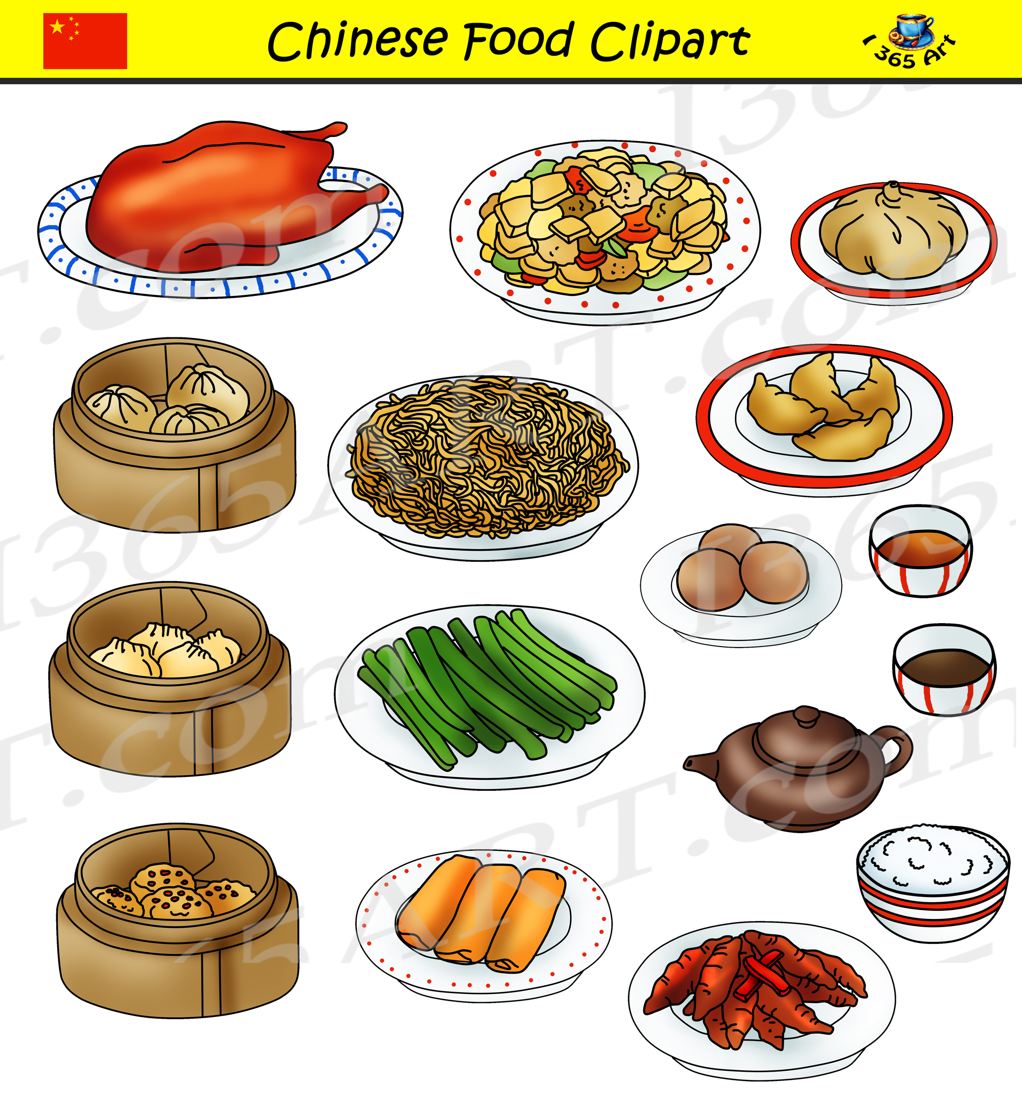 Chinese Food Clipart Set.