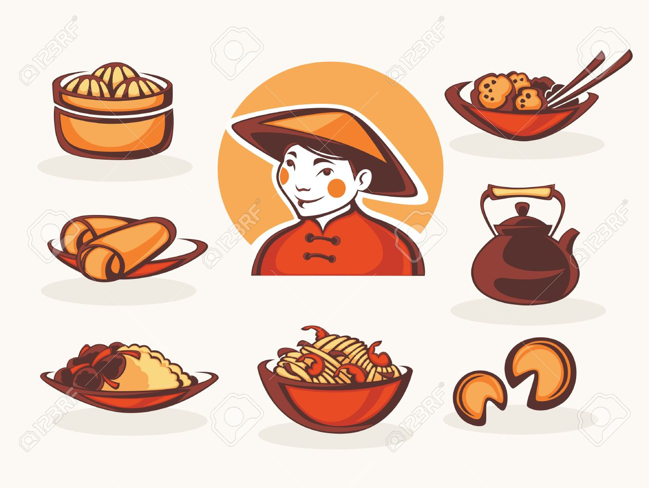 vector collection of chinese food symbols.