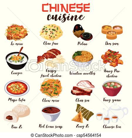 Chinese Food Cuisine Illustration.