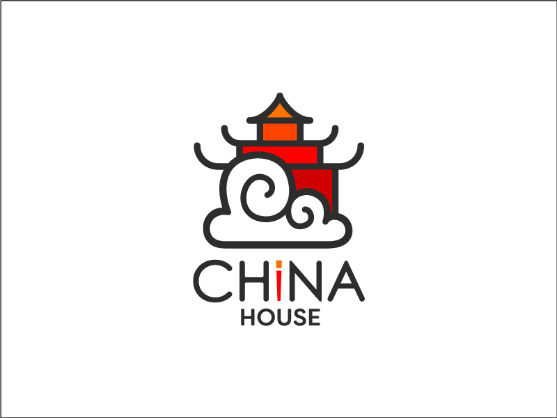 China House, Asian food, Outlined , LOGO Design.