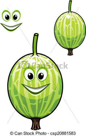 Vector of Happy smiling fresh Chinese gooseberry.