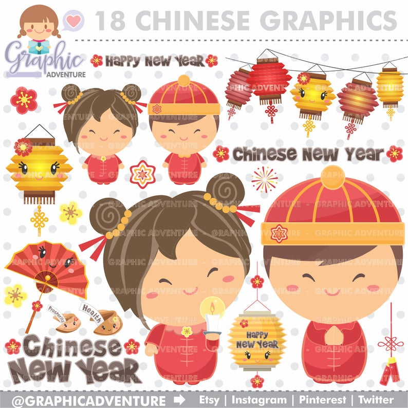 Chinese New Year Clipart, Chinese New Year Graphics, Chinese Clipart,  COMMERCIAL USE, Chinese Graphics, Chinese, New Year Clipart.