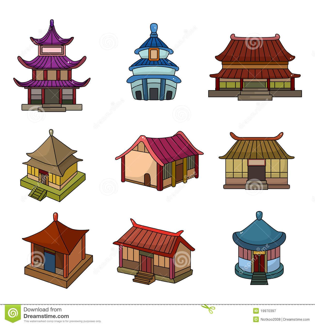 Cartoon Chinese House Icon Set Stock Photo.