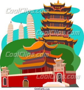 Chinese temple on hillside Clip Art.