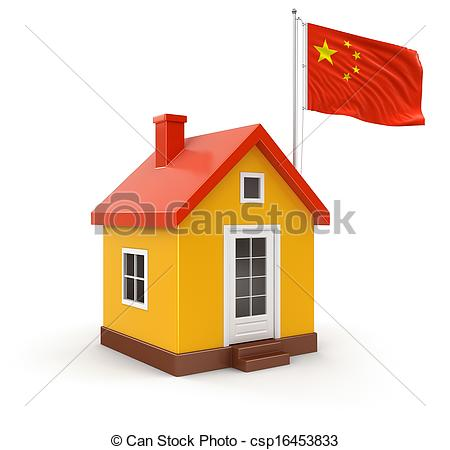 Drawings of House and Chinese Flag. Image csp16453833.