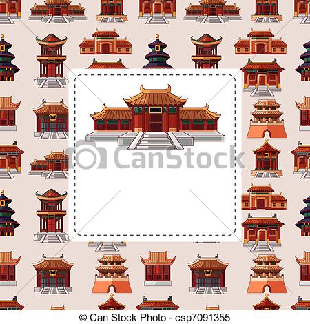Clipart Vector of cartoon Chinese house seamless pattern.