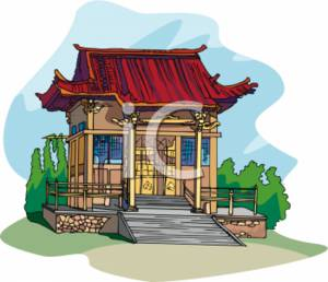 Clipart Picture of a Japanese Building.