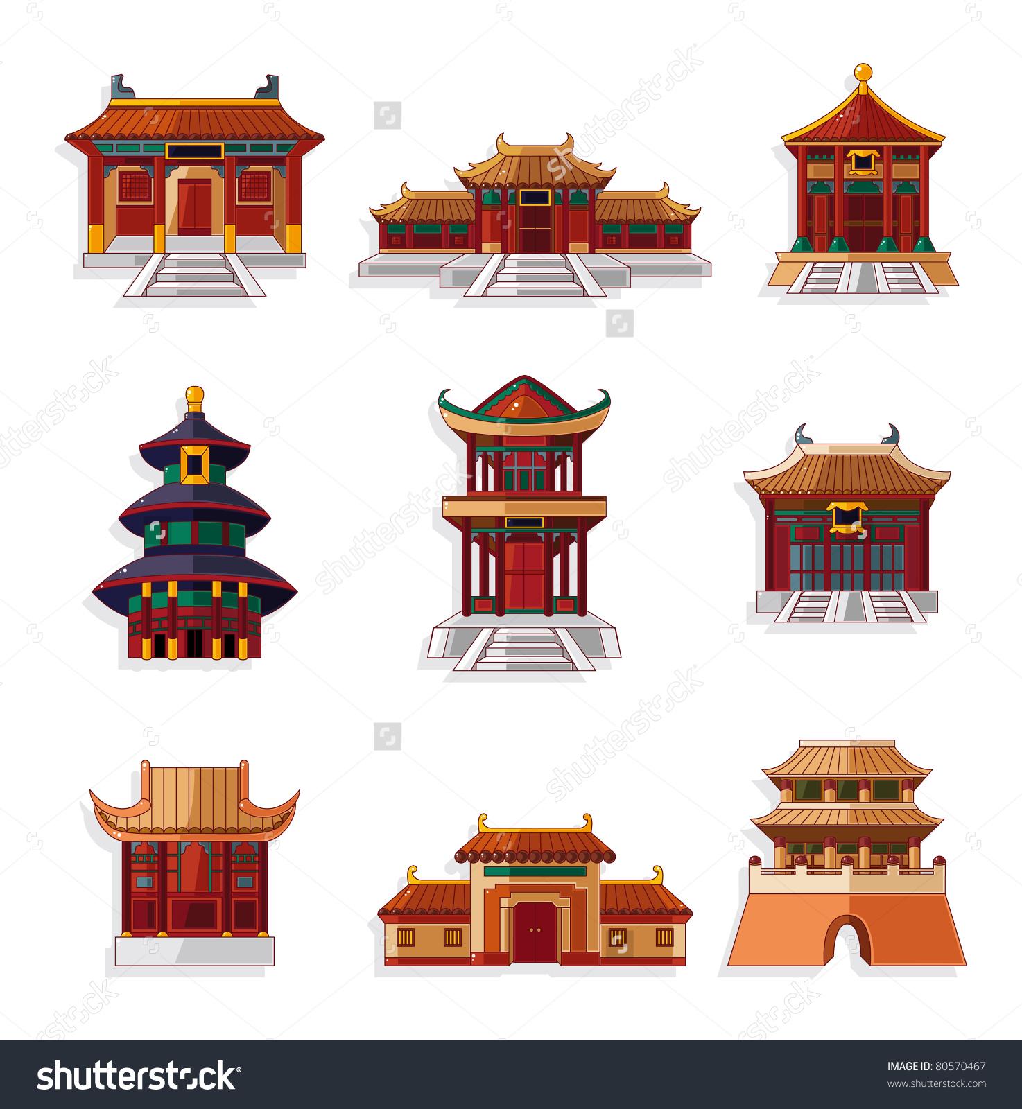 Cartoon Chinese House Icon Set Stock Vector 80570467.