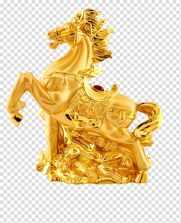 Horse Chinese zodiac Illustration, Zodiac Golden Horse transparent.