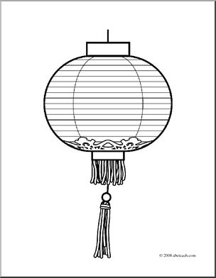 Clip Art: Chinese Lantern (coloring page).