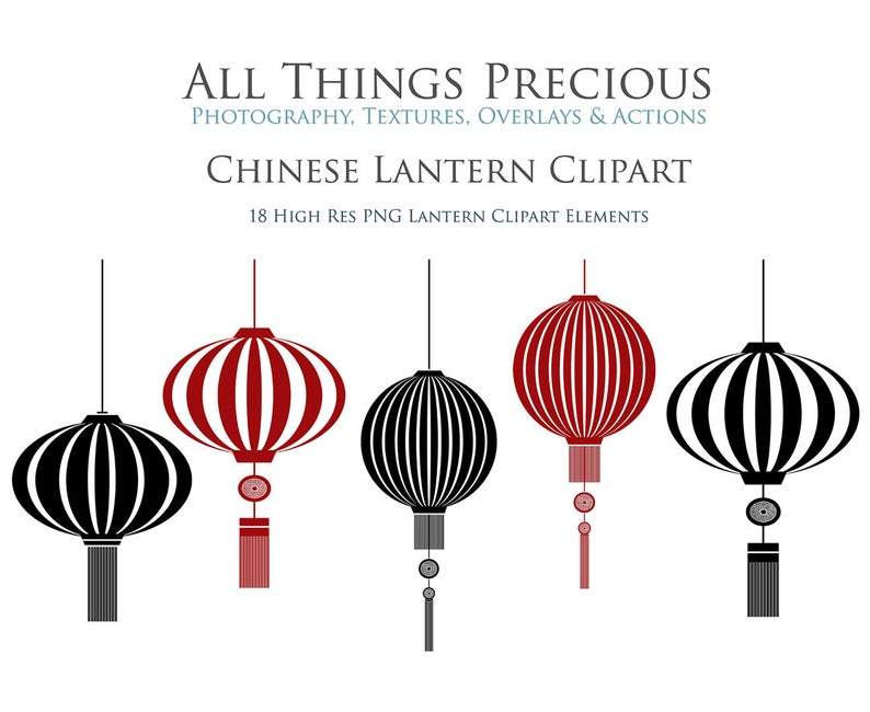 18 High Res CLIPART Chinese LANTERNS / PNG / Elements / scrapbooking / card  making / digital art / Asian / Light / Pattern.